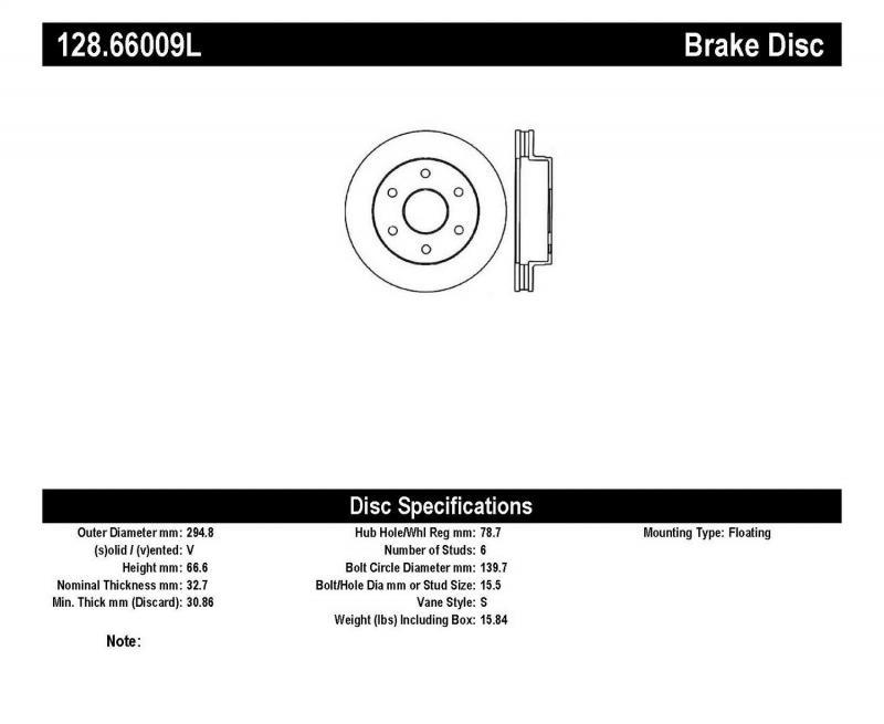 StopTech 128.66009L Sport Cross Drilled Brake Rotor; Front Left Front Left