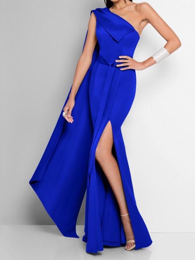 Ericdress Split Oblique Collar Floor-Length One-Shoulder Fashion Maxi Dress