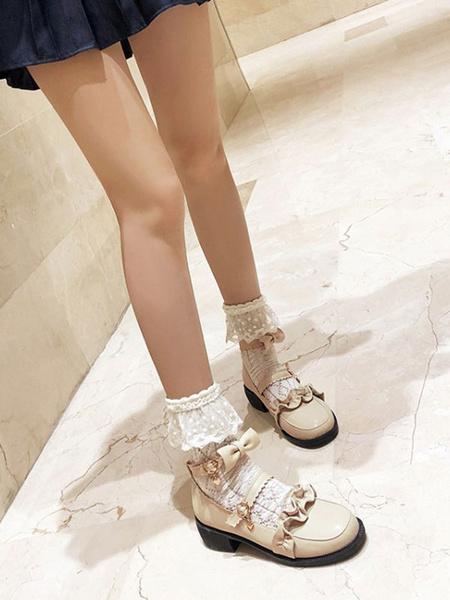 Milanoo Sweet Lolita Pumps Red Ruffles PU Leather Puppy Heel Lolita Shoes