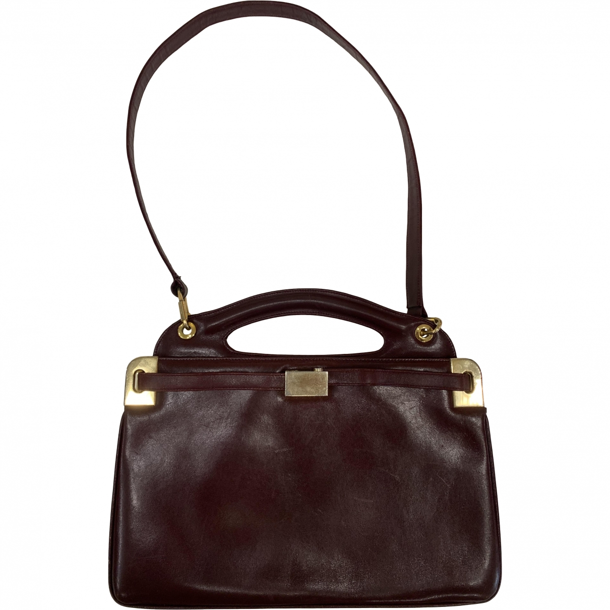 Non Signé / Unsigned \N Burgundy Leather handbag for Women \N
