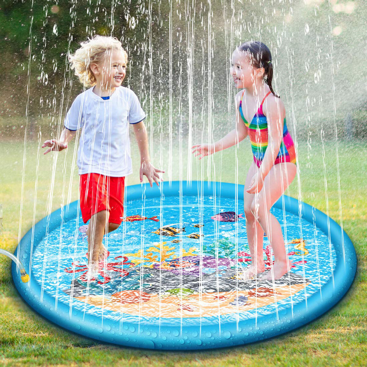 67'' Splash Water Play Mat Sprinkle Splash Play Mat Toy for Outdoor Swimming Beach Lawn Inflatable Sprinkler Pad For Kid