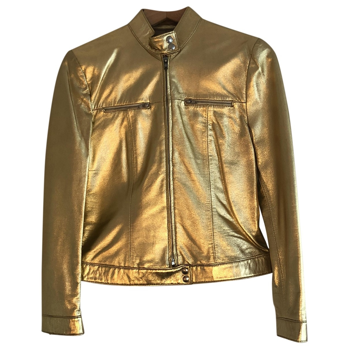 Non Signé / Unsigned \N Gold Leather Leather jacket for Women 10 UK