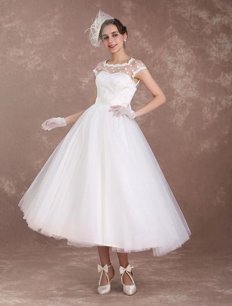 Milanoo Short Wedding Dresses Vintage 1950's Bridal Dress Open Back Polka Dot Ivory A Line Tea Length Wedding Reception Dress