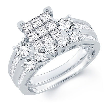 Womens 2 CT. T.W. Genuine White Diamond 10K Gold Bridal Set, 7 , No Color Family