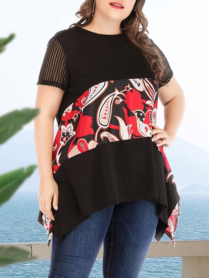 Ericdress Short Sleeve Floral Mid-Length Loose PlusSize T-Shirt