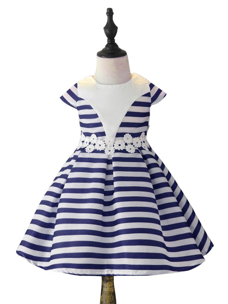 Ericdress Scoop Stripe Girl's Short Sleeve Print Dress