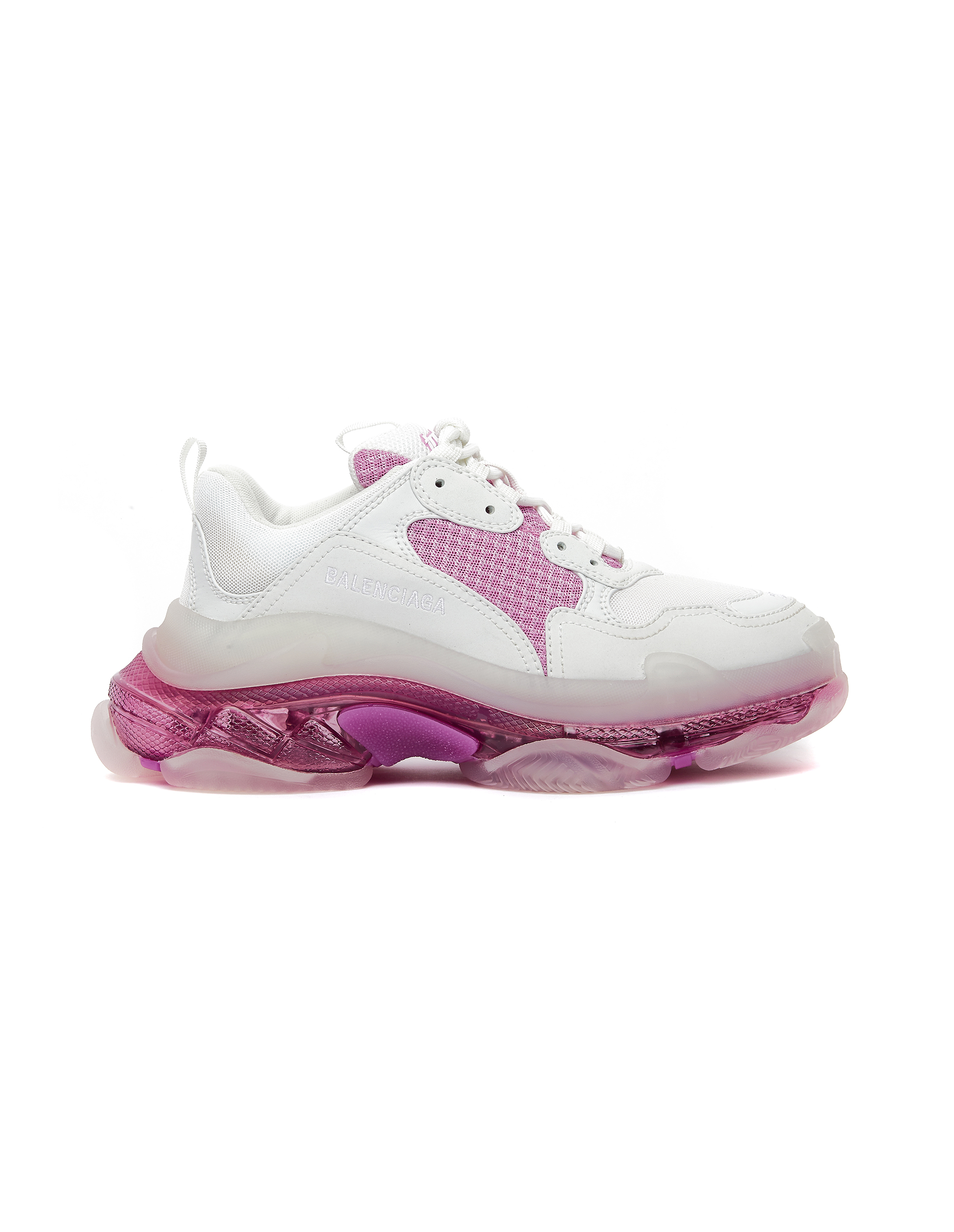 Balenciaga White & Pink Triple S Clear Sole Sneakers