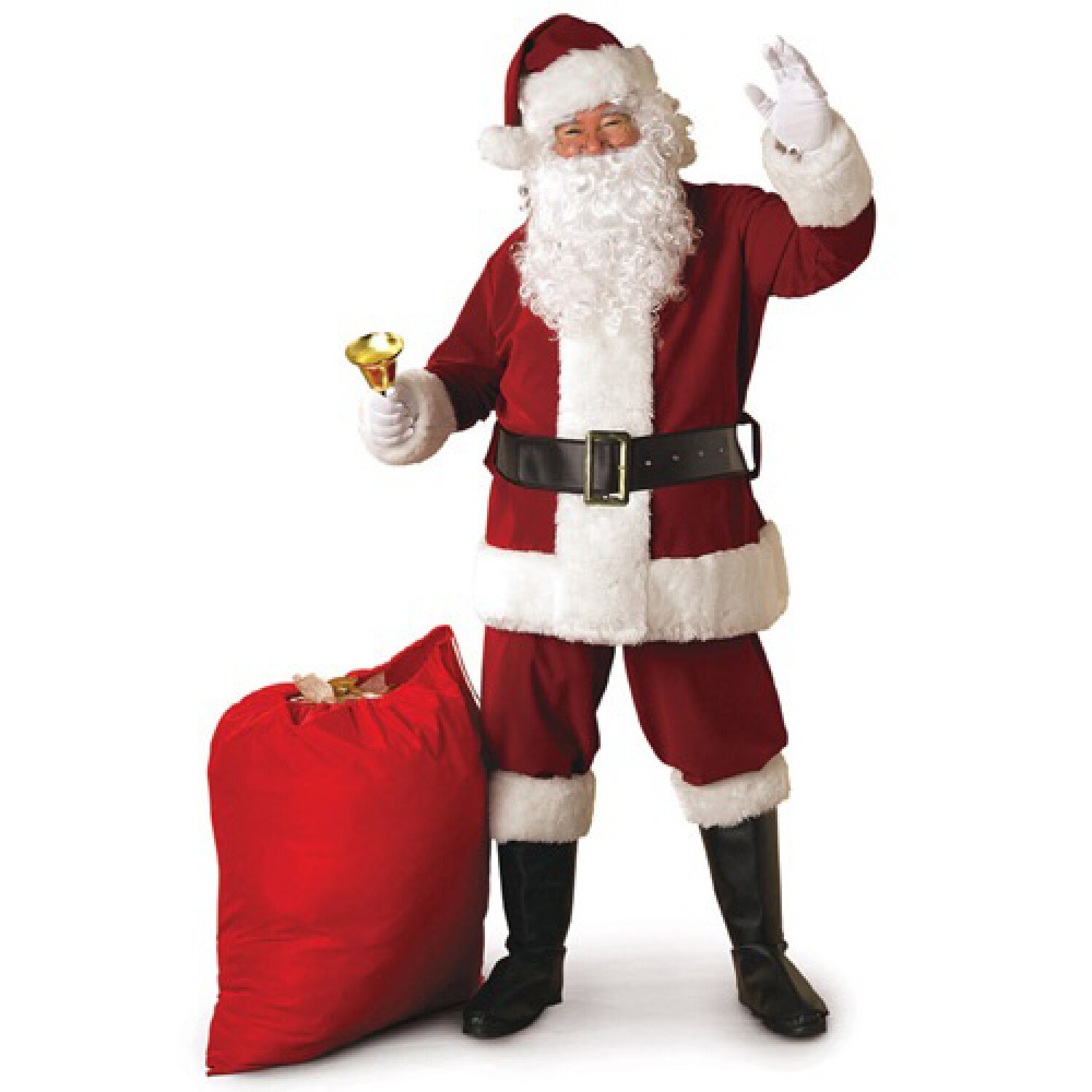 Rubies Santa Claus Suit Plush Costume incl Jacket Pants Wig and Beard Fits Mens Std Sz 40-48 - One Size - Red