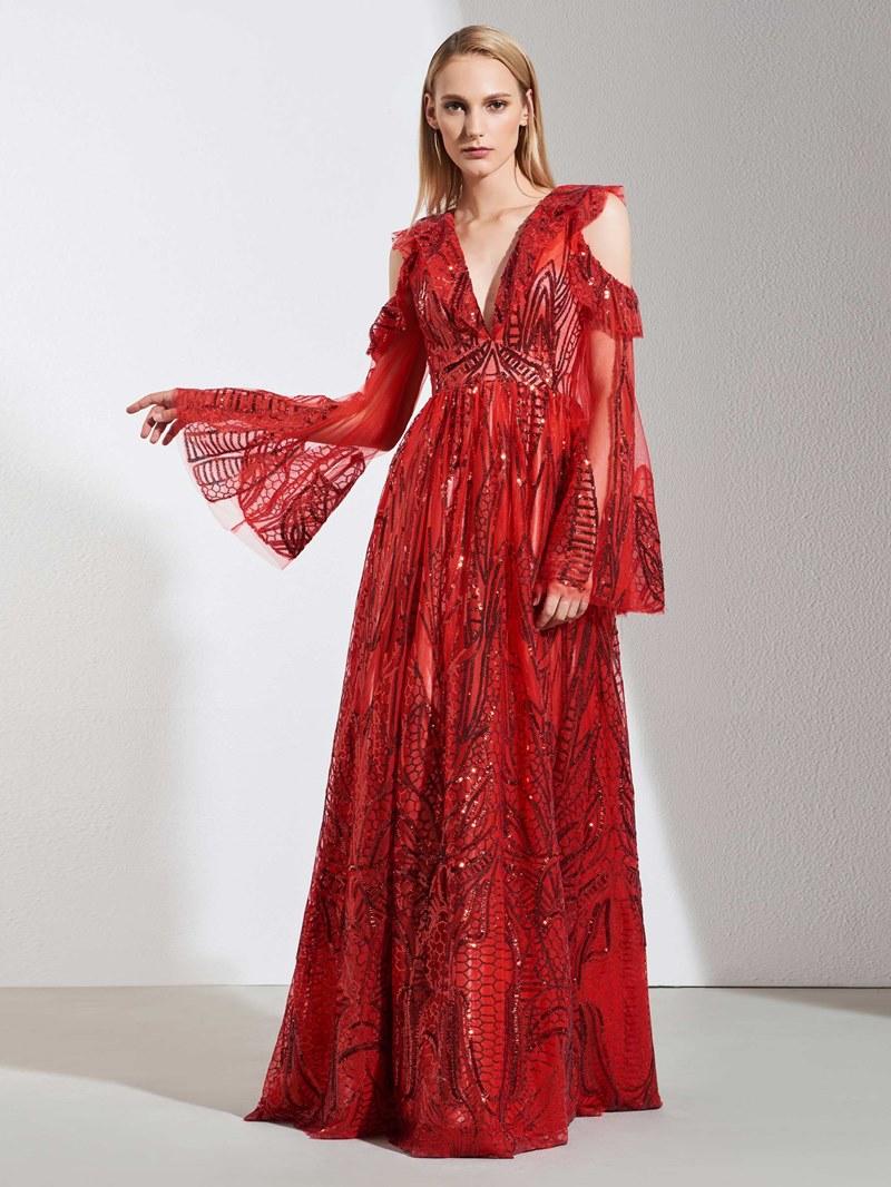 Ericdress Long Sleeve Sequins Red Evening Dress