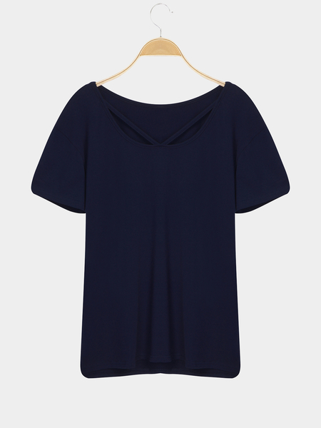 Yoins Blue Casual Short Sleeves Strappy V-neck T-shirt