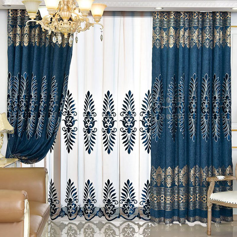 Luxury and Elegant Navy Blue Decorative Custom Sheer Curtains for Living Room and Bedroom