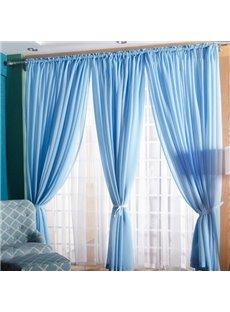 Concise Solid Lemon Sky Blue One Panels Custom Sheer Curtain