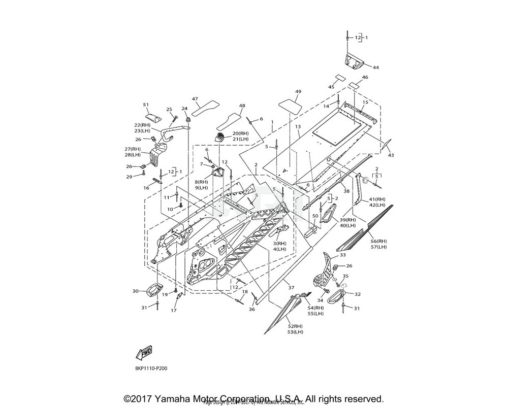 Yamaha OEM 8JY-F1950-00-00 REAR FRAME COMP.