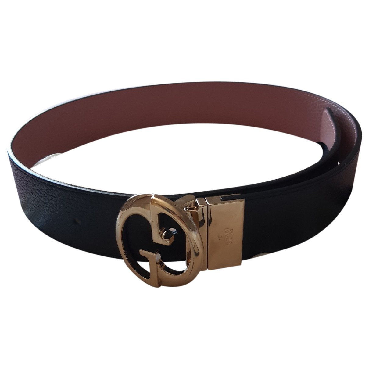 Gucci GG Buckle Black Leather belt for Women 75 cm