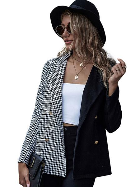 Milanoo Women Blazer Jackets Burgundy Turndown Collar Patchwork Plaid Front Button Short Jacket