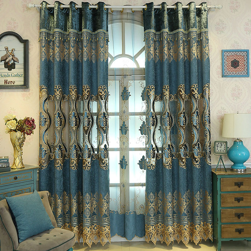 European Embroidered Plant Blackout Curtains for Living Room Custom 2 Panels Gold Drapes No Pilling No Fading No off-lining