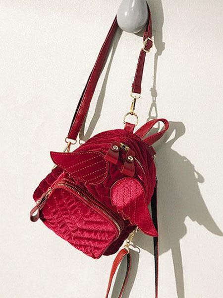 Milanoo Classic Lolita Backpack Velour Angel Wing Red Lolita Bag