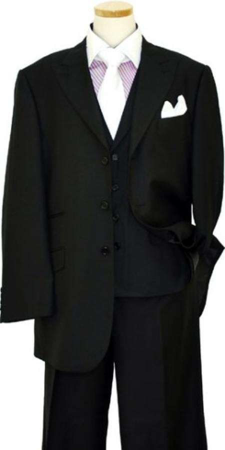 3 Button Solid Black Wool Silk Vested Suit Mens