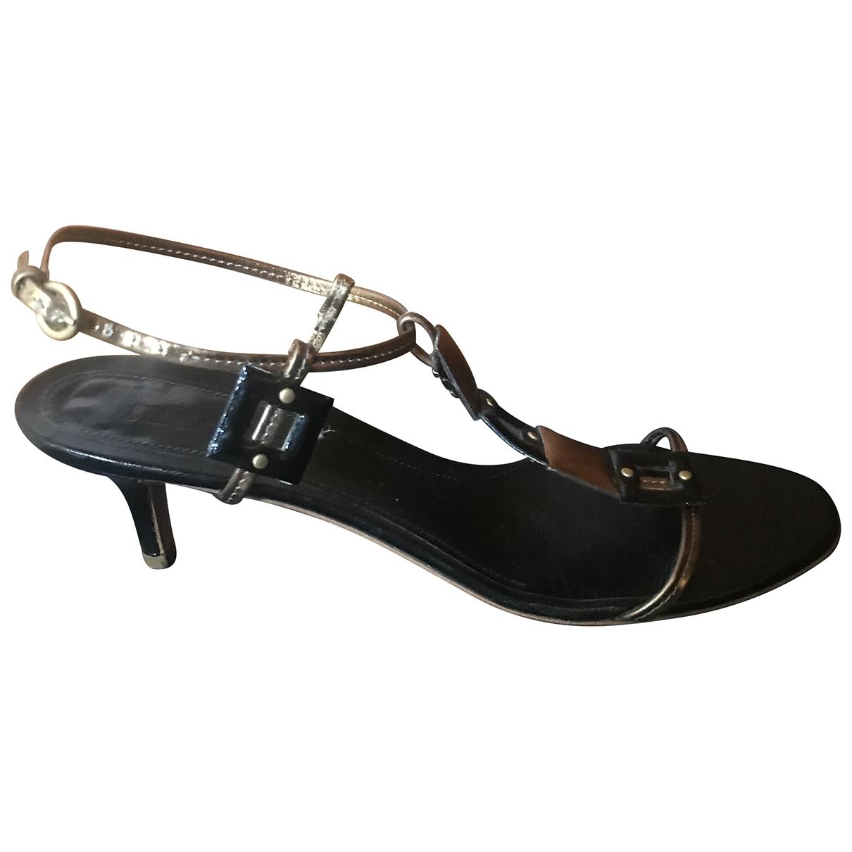 Jil Sander \N Black Patent leather Sandals for Women 39 EU