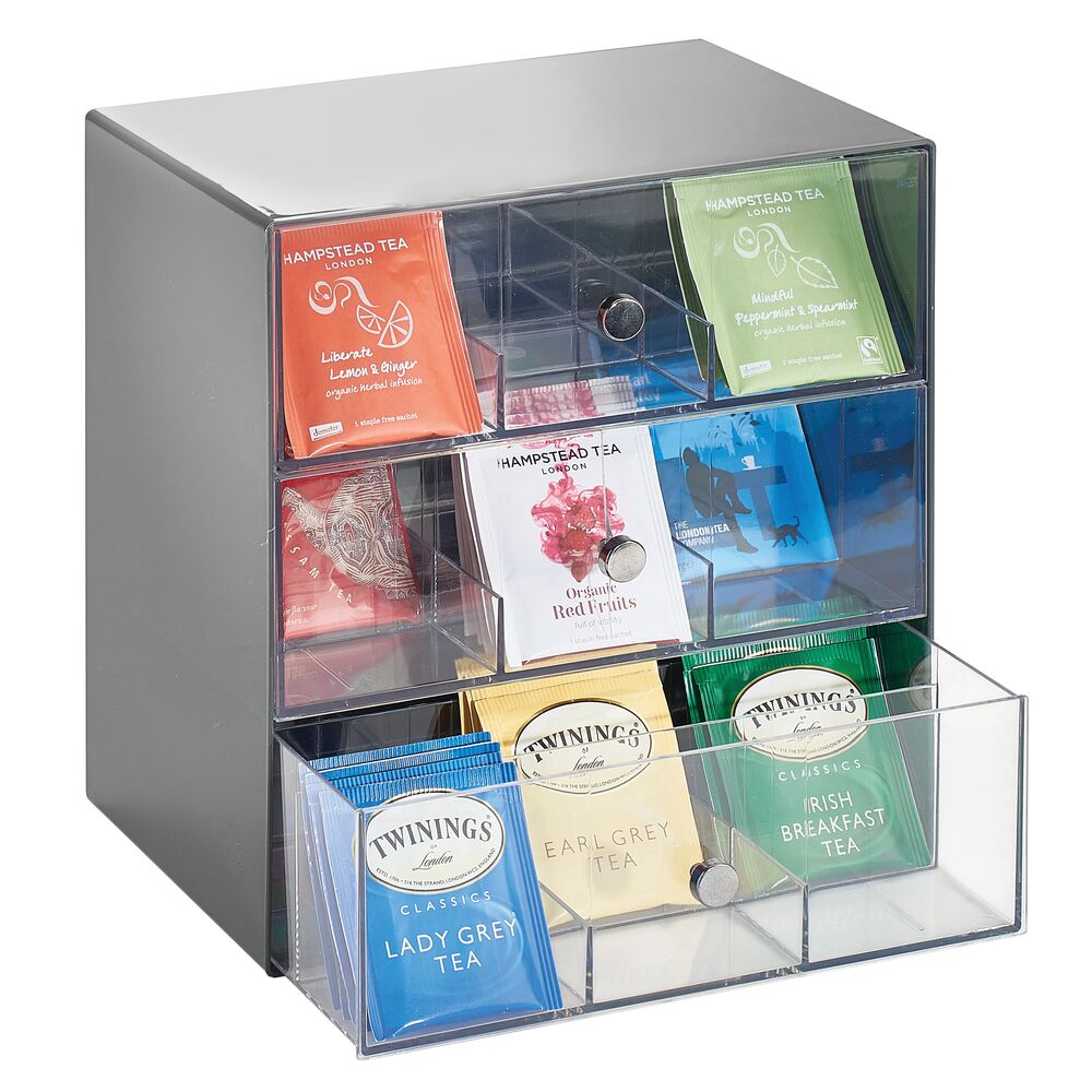 Tea Bag Holder and Condiment Accessory Organizer Bo in Charcoal/Clear, 7