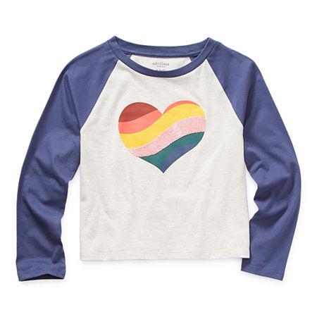 Arizona Little & Big Girls Round Neck Long Sleeve Graphic T-Shirt, X-small (6-6x) , Gray