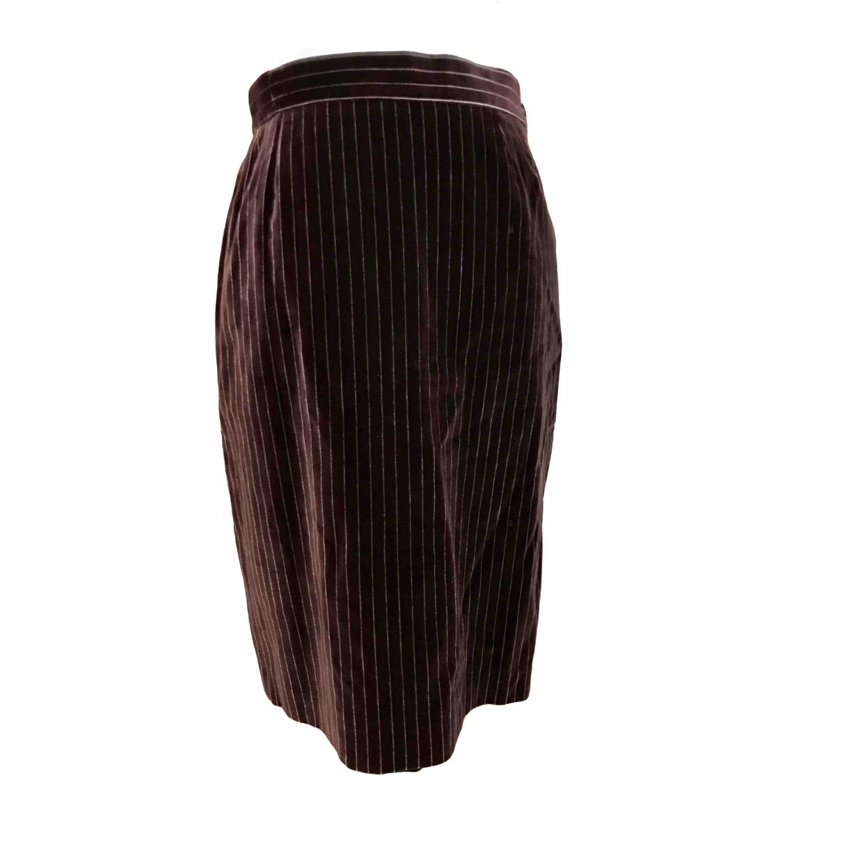 Yves Saint Laurent \N Brown Velvet skirt for Women 42 FR