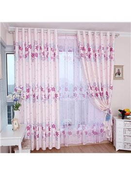 Translucidus Pastoral Floral Custom Living Room Bedroom Sheer Curtains 30% Shading Rate and UV Rays Environment-Friendly and Pollution-Free Material N