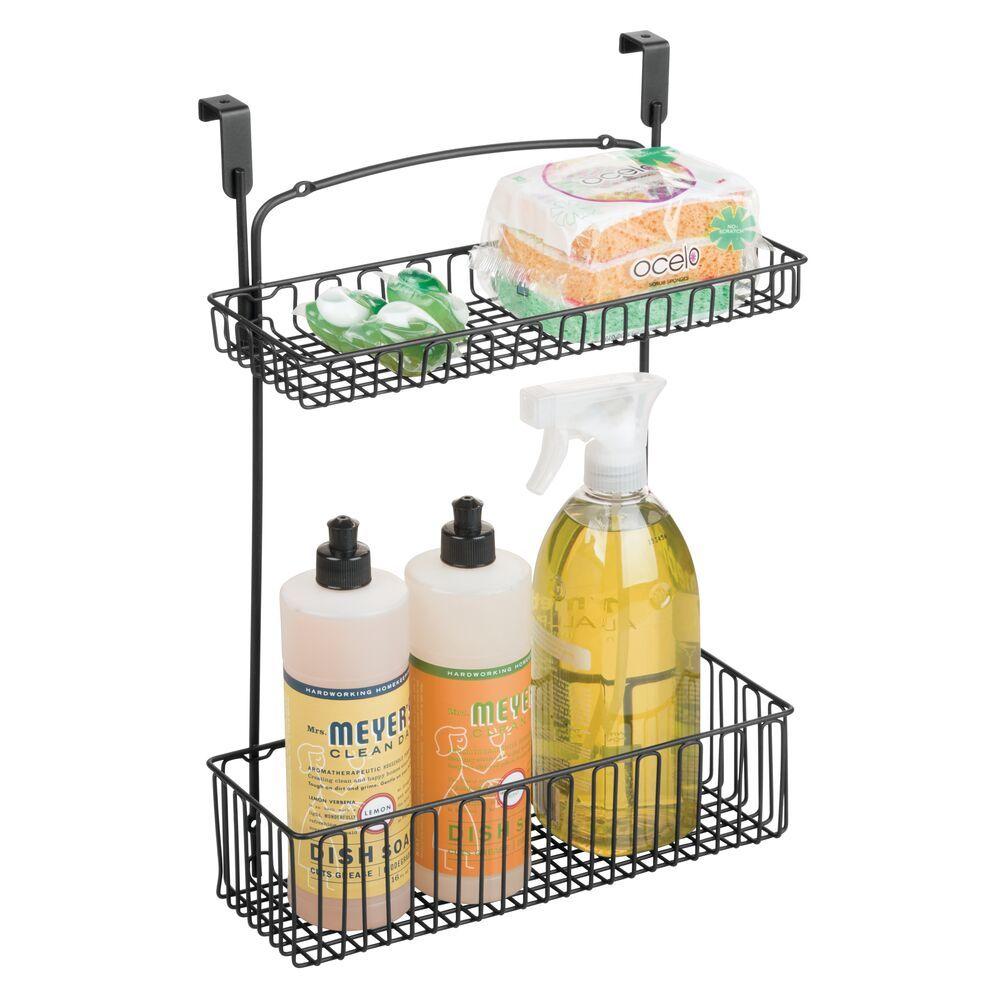 mDesign Hanging Over Cabinet Door Kitchen Storage with 2 Baskets in Matte Black, 11.5