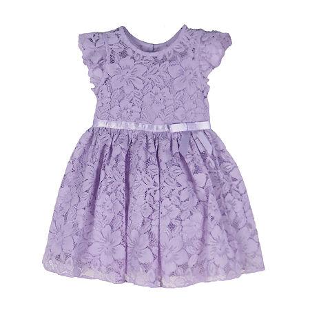Lilt Little & Big Girls Short Sleeve Flutter Sleeve Party Dress, 10 , Purple