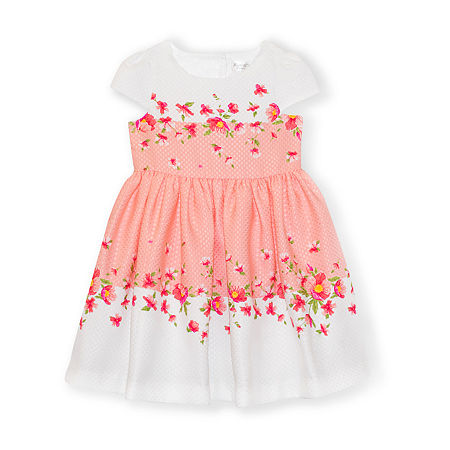 Nannette Baby Baby Girls Short Sleeve Cap Sleeve Floral A-Line Dress, 18 Months , White
