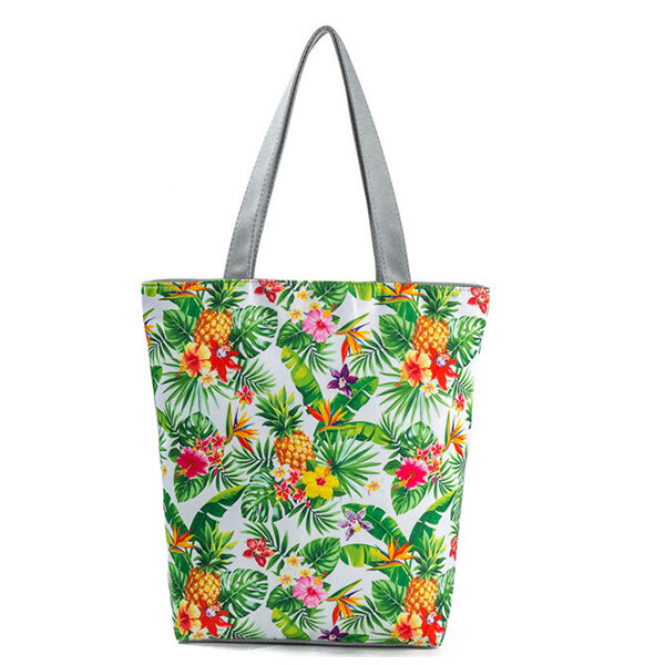 Women Canvas Print Casual Tote Handbag Large Capacity Shoulder Bag