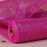 Hot Pink Metallic Deco Mesh - 21 X 10 Yards - Polypropylene / Cellophane - Wraps by Paper Mart