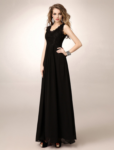 Milanoo Fashion Black A-line V-Neck Lace Chiffon Mother of the Bride Dress