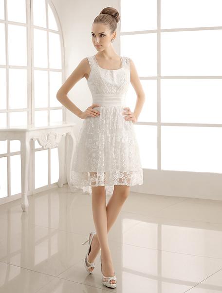 Milanoo Simple Wedding Dresses Lace Sweetheart Short Bridal Dress With Sash