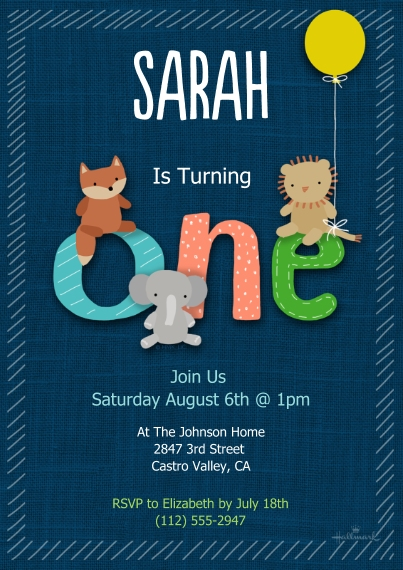 1st Birthday Invitations Flat Matte Photo Paper Cards with Envelopes, 5x7, Card & Stationery -Age One Animal Friends