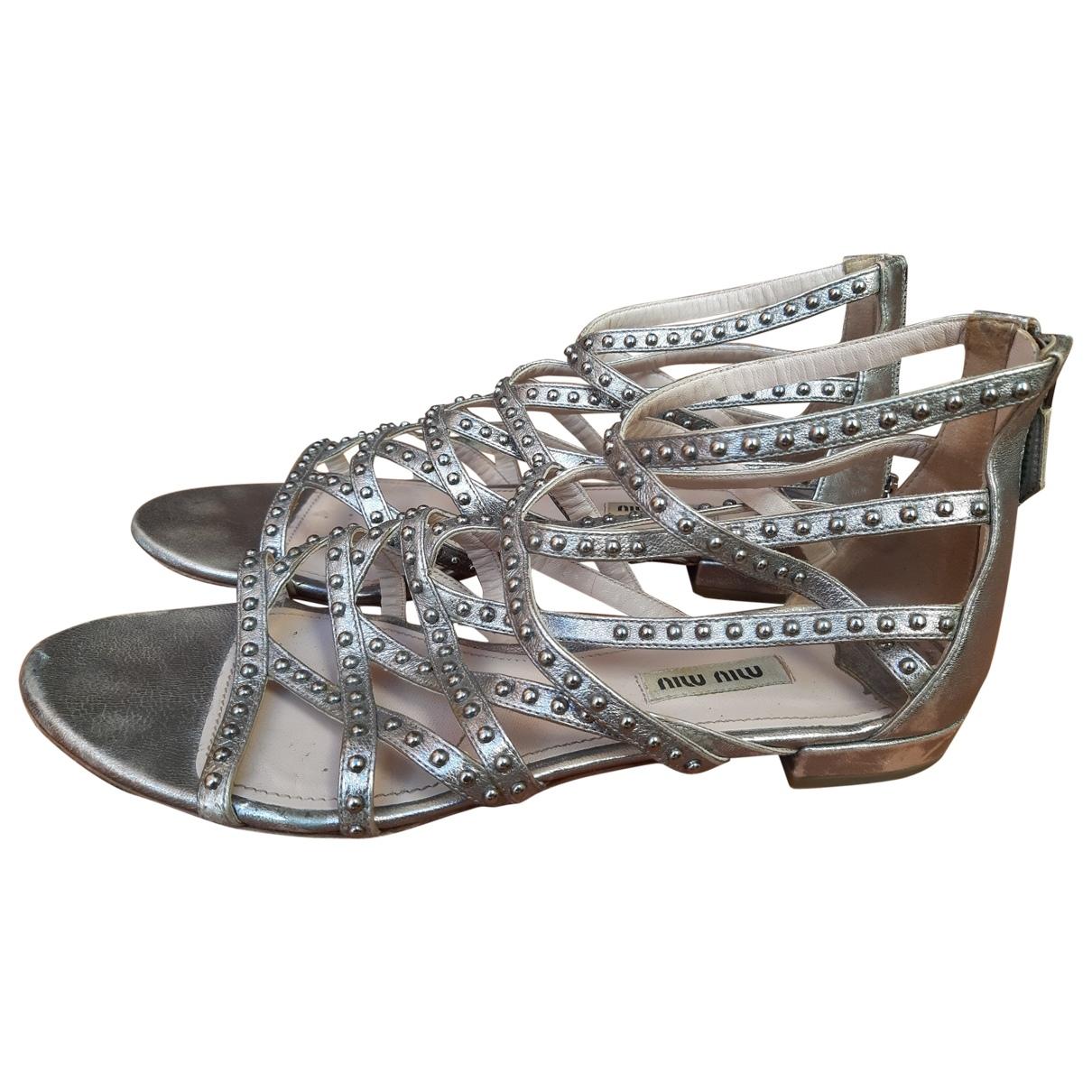 Miu Miu \N Silver Leather Sandals for Women 39.5 EU