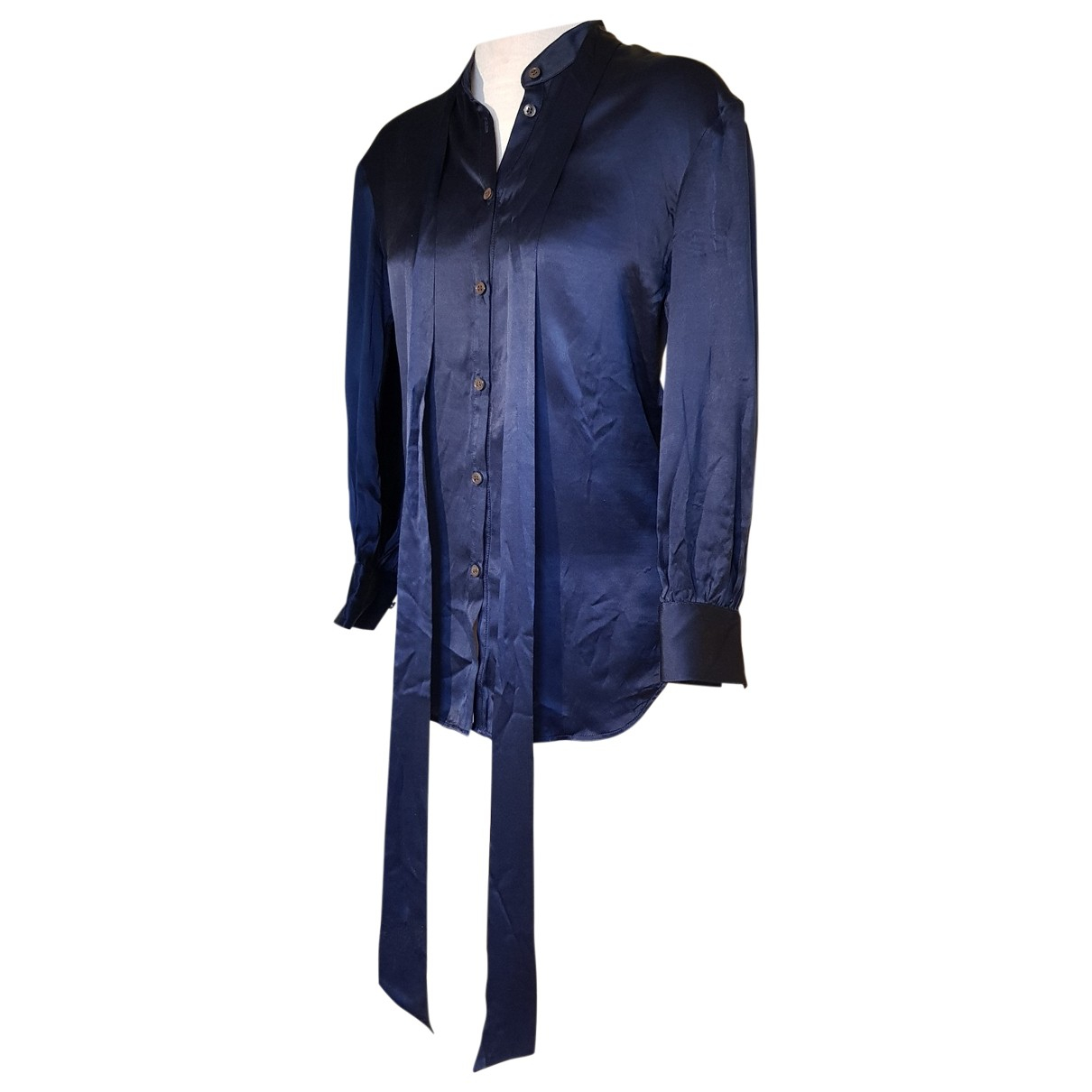Blk Dnm \N Blue Silk  top for Women 40 FR