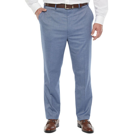 Shaquille O'Neal XLG Mens Pin Dot Stretch Classic Fit Suit Pants - Big and Tall, 46 34, Blue