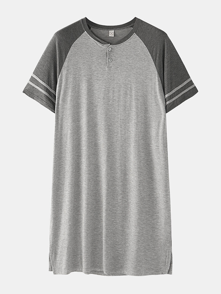 Grey & Black Patchwork Cozy Top Design Robes Breathable Short Sleeve Knee Length Sleepwear For Men
