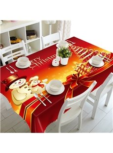 3D Lovely Snowmen and Christmas Gift Printed Red Background Table Runner Cover