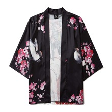 Men Figure And Floral Print Kimono