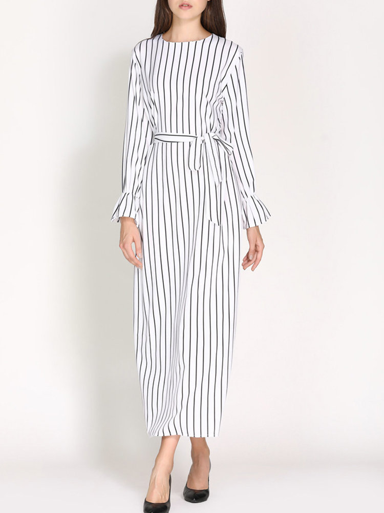 Striped Long Sleeve A Line With Belt Maxi Dress