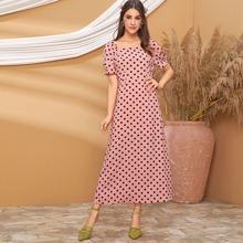 Square Neck Polka Dot A-line Dress