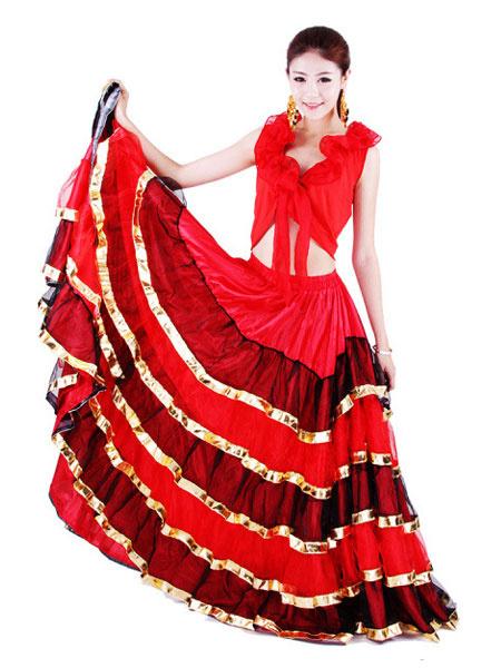 Milanoo Flamenco Girls Red Black Layered Mesh Dance Adults Spanish Ballroom Dress Off Shoulder Paso Doble Costumes Halloween