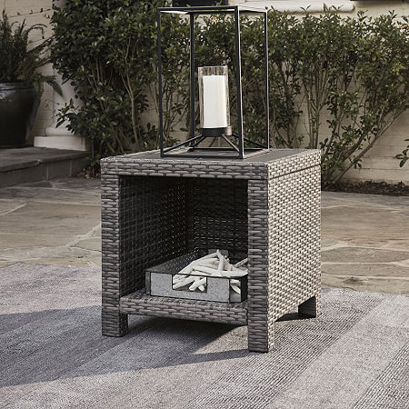 Signature Design by Ashley Salem Beach Patio Side Table, One Size , Gray