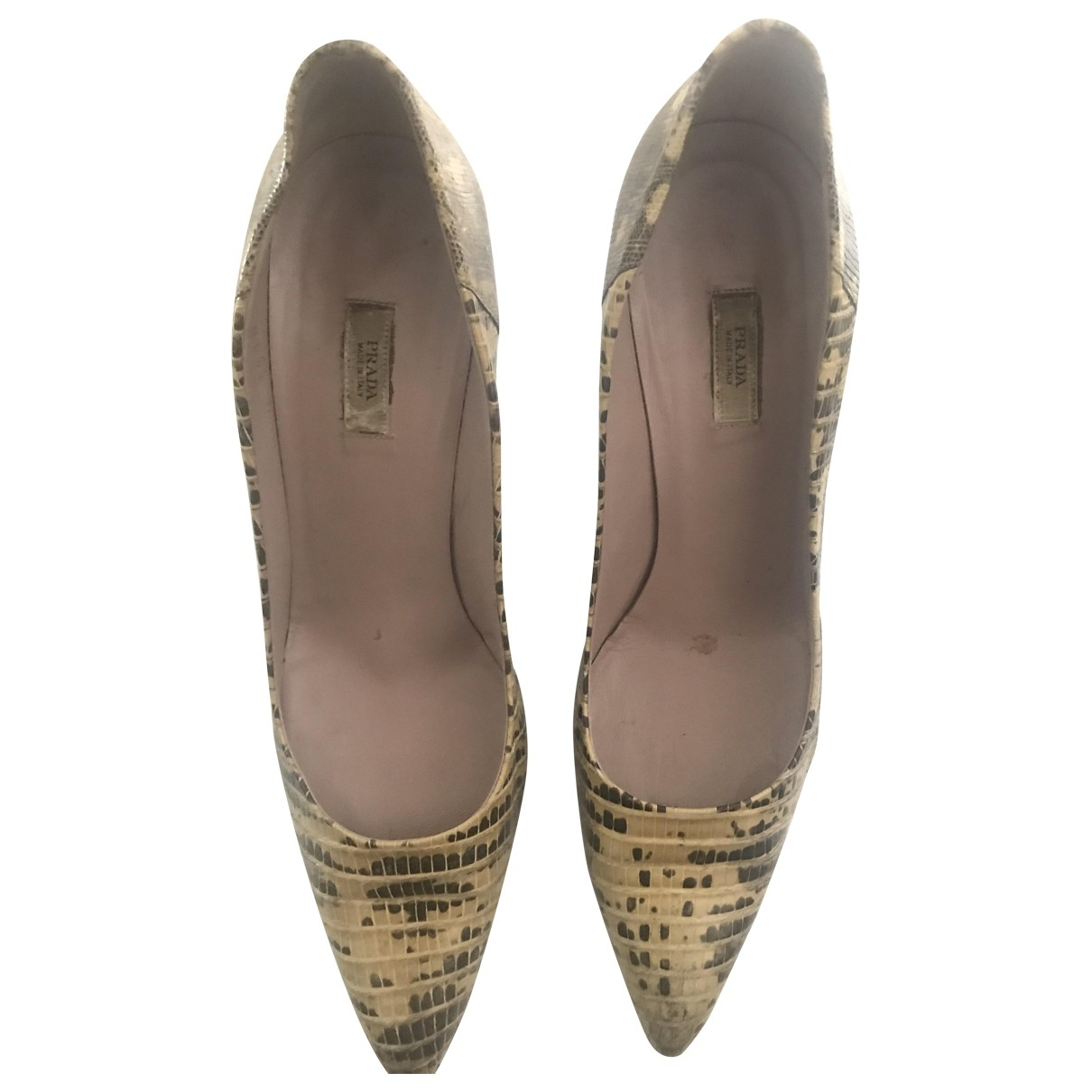 Prada \N Beige Leather Heels for Women 38.5 EU