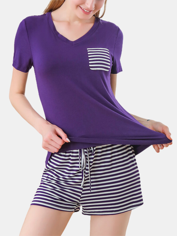 Plus Size Women V-Neck T-Shirt Striped Drawstring Shorts Set Pajamas With Pocket