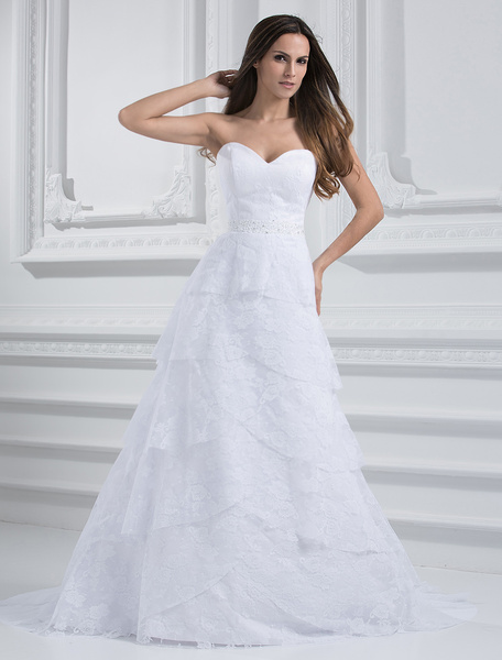 Milanoo Chic White A-line Sweetheart Neck Sequin Lace Wedding Dress