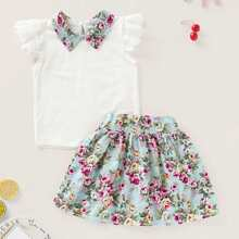 Toddler Girls Contrast Collar Blouse With Floral Print Skirt