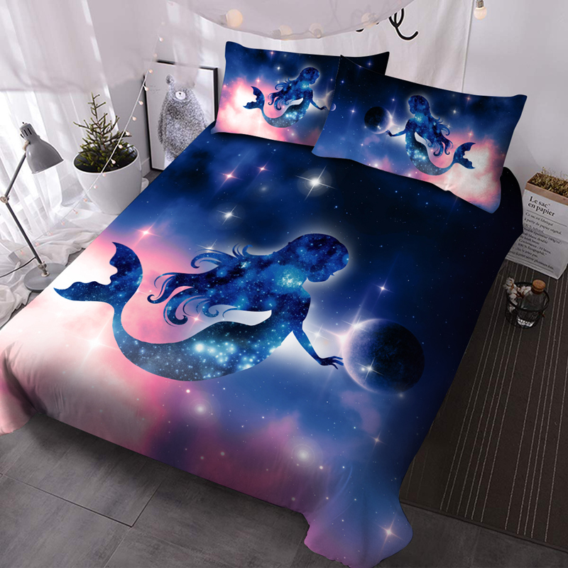Mermaid 3Pcs Microfiber Wrinkle/Fade Resistant Comforter Set 3D Galaxy Comforter Insert with 2 Pillow Covers